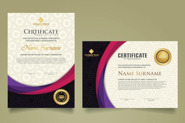 Ustaw nowoczesny szablon certyfikatu z futurystycznym i eleganckim kształtem fali koloru na ornamentie i nowoczesnym tle wzoru. rozmiar a4.