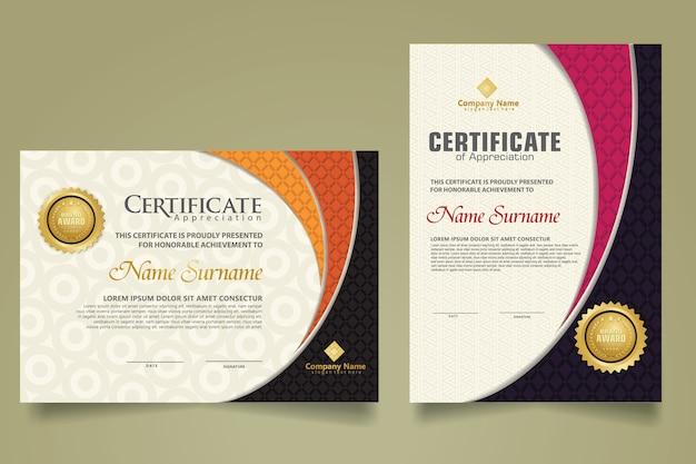 Ustaw nowoczesny szablon certyfikatu z realistyczną teksturą diamentu w kształcie ornamentu i nowoczesnym wzorem tła. rozmiar a4.