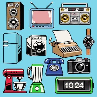 Ustaw obiekt retro domowy elektroniczny