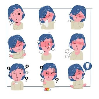 Ustaw objawy choroby kobiety. kaszle, jest zmęczona i cierpi na ból w klatce piersiowej. koronawirus