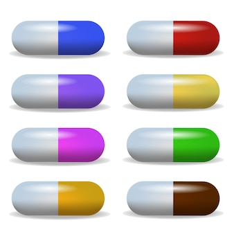 Ustaw obraz wielobarwny tablet leżący w dwóch rzędach