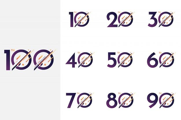 Ustaw od 10 do 100 rocznicy