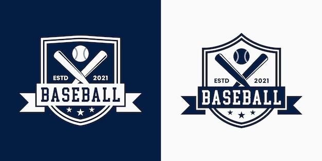 Ustaw odznakę baseball logo projekt stylu vintage dla sportu