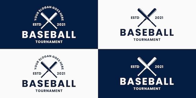 Ustaw odznakę logo sportowego baseballu w stylu retro