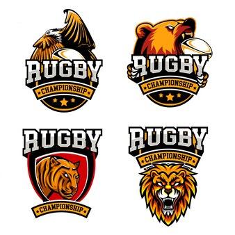 Ustaw odznakę rugby animals style