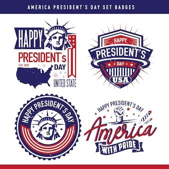 Ustaw odznaki, aby uczcić dzień prezydenta ameryki