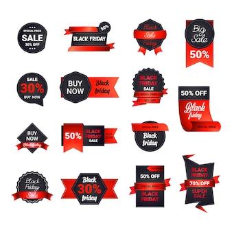 Ustaw odznaki na czarny piątek lub banery rabatowe na świąteczne zakupy