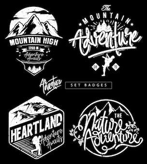 Ustaw odznaki tematyczne adventure mountain