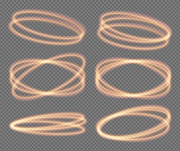Ustaw ogniste neonowe kółka