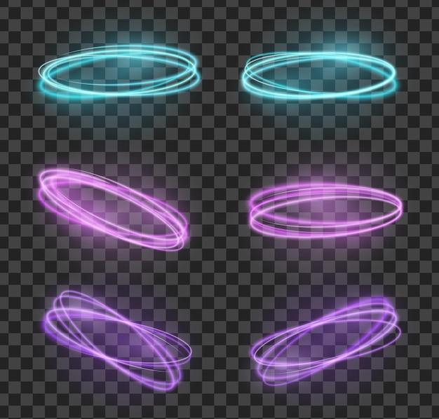 Ustaw ogniste neonowe kręgi, efekt błysku błyszczącego złotego blasku, spiralne wiry
