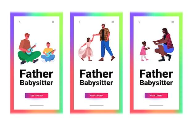 Ustaw ojcowie rasy mieszanej spędzający czas z małymi dziećmi rodzicielstwo koncepcja ojcostwa pozioma