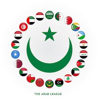 Ustaw okrągłą flagę członka ligi arabskiej