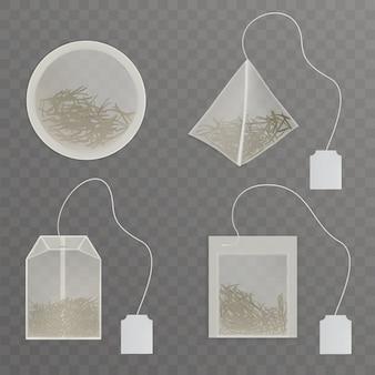 Ustaw okrągłe, prostokątne, kwadratowe torebki na herbatę w kształcie piramidy