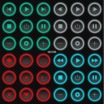 Ustaw okrągłe przyciski internetowe aplikacji lub witryny na czarnym tle z szarą siatką