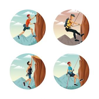 Ustaw okrągłe ramki z krajobrazu sceny człowiek wspinaczka skałkowa