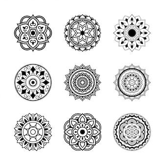 Ustaw okrągły wzór w formie mandali. mandala z tatuażem z henny. styl mehndi. ozdobny wzór w stylu orientalnym. książka do kolorowania.