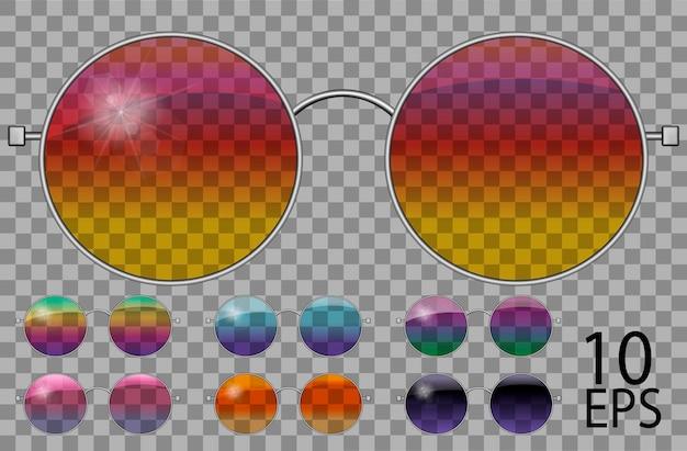 Ustaw okulary. teashades okrągły kształt. przezroczysty inny kolor. tęczowy kameleon różowy niebieski fioletowy żółty czerwony zielony pomarańczowy czarny. okulary przeciwsłoneczne. grafika 3d. unisex kobiety mężczyźni.