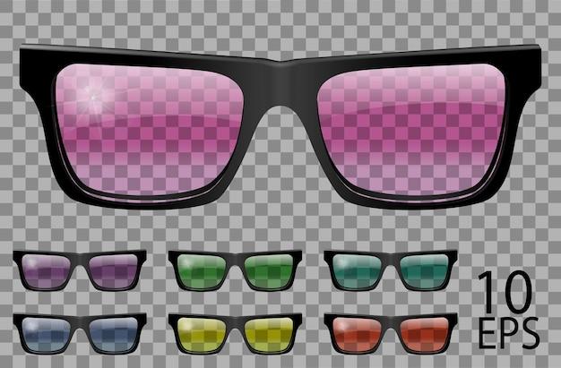 Ustaw okulary.trapezowy kształt.przezroczysty inny kolor.okulary przeciwsłoneczne.grafika 3d.różowy niebieski fioletowy żółty czerwony zielony.unisex kobiety mężczyźni