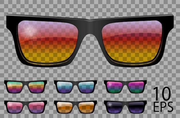 Ustaw okulary.trapezowy kształt.przezroczysty inny kolor.okulary przeciwsłoneczne.grafika 3d. tęczowy kameleon różowy niebieski fioletowy żółty czerwony zielony pomarańczowy czarny.unisex kobiety mężczyźni