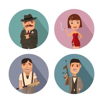 Ustaw osobę mafii. don, kapo, żołnierz, prostytutka. płaskie ilustracji wektorowych z cieniem na koło kolorów. kolekcja komiksów ikona