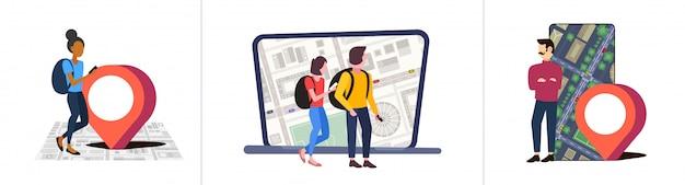 Ustaw osoby korzystające z aplikacji nawigacyjnej ze znacznikiem lokalizacji pozycja gps na miejskiej mapie miasta z zabudowaniami i ulicami koncepcje podróży kolekcja pejzaż kąt górny widok pełna długość pozioma