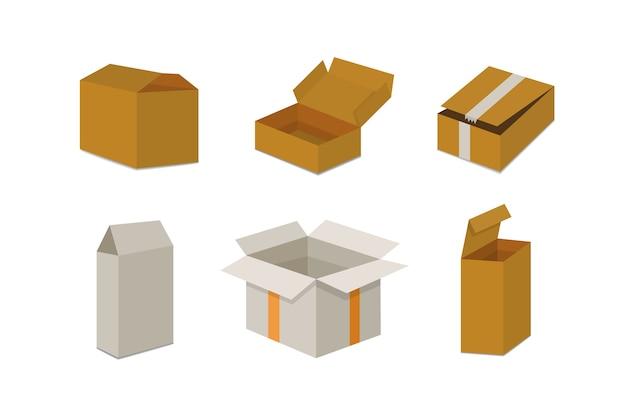 Ustaw otwarte i zamknięte pudełko kartonowe. ilustracja opakowania dostawy.