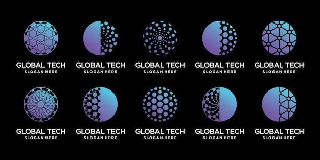 Ustaw pakiet globalnego szablonu projektu logo technologii z nowoczesną unikalną koncepcją premium wektor