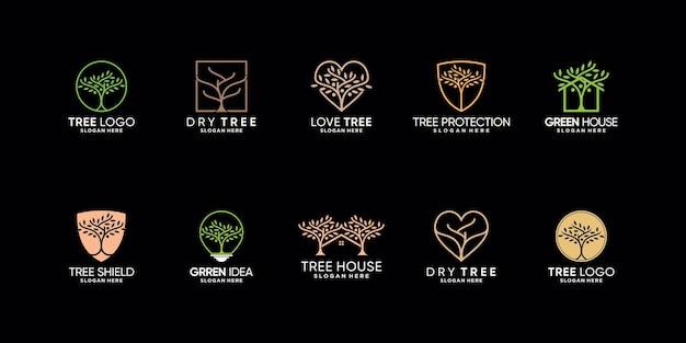 Ustaw pakiet inspiracji do projektowania logo drzewa z kreatywną, nowoczesną koncepcją premium wektorów