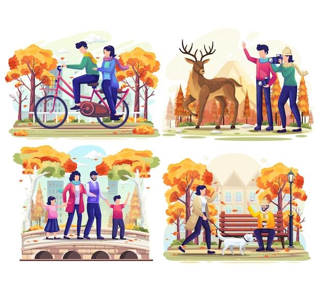 Ustaw pakiet jesieni z ludźmi wykonującymi aktywność na świeżym powietrzu w parku jesiennej ilustracji wektorowych