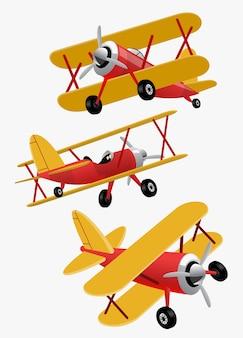Ustaw pakiet kreskówka samolotu z podwójnymi skrzydłami