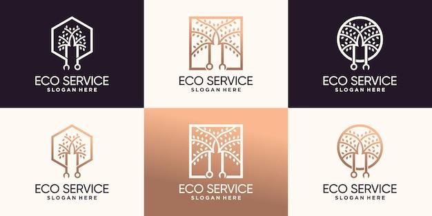 Ustaw pakiet logo drzewa i klucz z kreatywnym stylem linii premium wektorów
