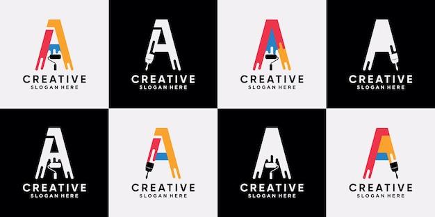 Ustaw pakiet malowania logo szablon projektu początkowa litera a z kreatywną nowoczesną koncepcją premium wektor