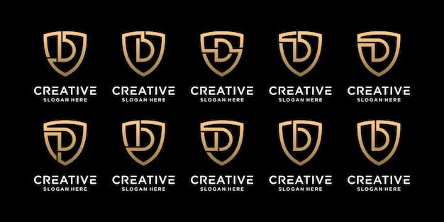 Ustaw pakiet monogram tarcza logo projekt początkowa litera d w stylu liniowym premium wektorów