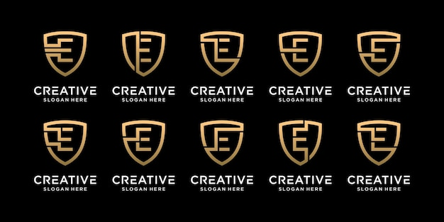 Ustaw pakiet monogram tarcza logo projekt początkowa litera e w stylu liniowym premium wektorów