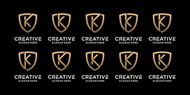 Ustaw pakiet monogram tarcza logo projekt początkowa litera k w stylu liniowym premium wektorów