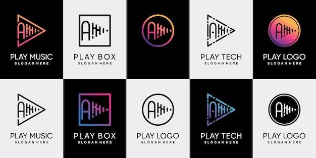 Ustaw pakiet projektu logo odtwarzania muzyki z początkową literą a i unikalnym stylem grafiki liniowej premium wektor