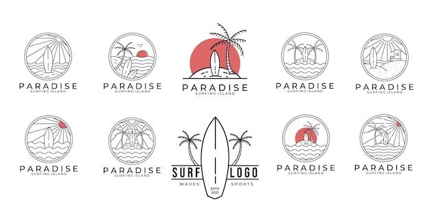 Ustaw pakiet raju surfowania logo linii sztuki ilustracji wektorowych projektowania rajskiej plaży projektowanie logo