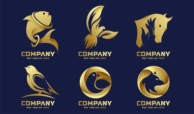 Ustaw pakiet szablon logo dzikich zwierząt premium dla firmy premium wektor