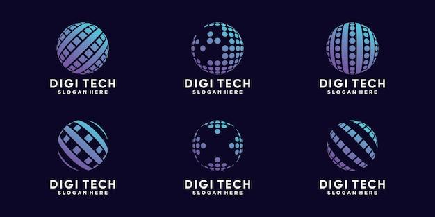 Ustaw pakiet technologii projektowania logo cyfrowego globu z kreatywną koncepcją premium wektorów