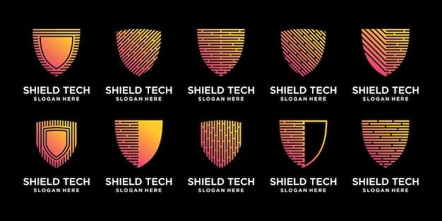 Ustaw pakiet technologii projektowania logo tarczy z unikalnym stylem grafiki liniowej premium wektor