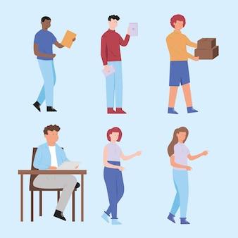 Ustaw papier biurkowy ludzi do pracy