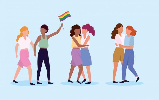 Ustaw pary kobiet razem, aby być dumnym lgbt