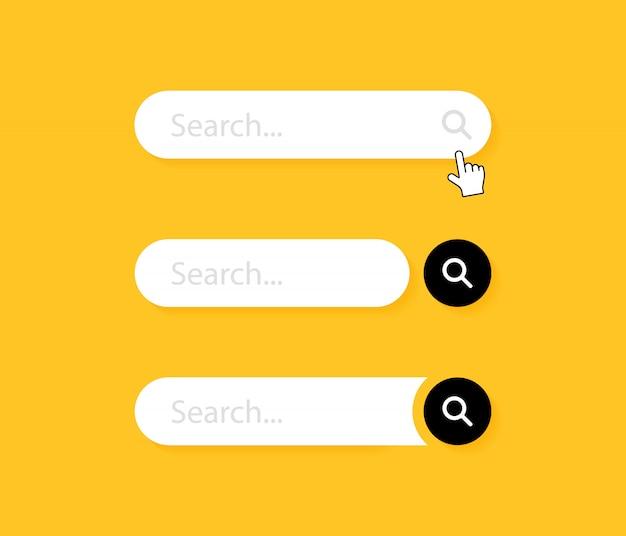 Ustaw pasek wyszukiwania. element projektu interfejsu użytkownika www dla strony internetowej lub przeglądarek. pole tekstowe i przycisk wyszukiwania.