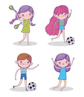 Ustaw piękna dziewczyna grać w piłkę nożną i marakasy
