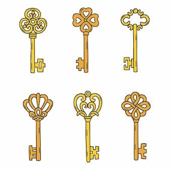 Ustaw piękne klucze vintage.
