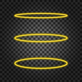 Ustaw pierścień anioła halo. święty złoty nimbus koło na białym tle
