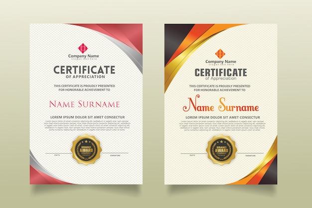 Ustaw pionowy szablon certyfikatu z luksusowe i eleganckie tekstury nowoczesny wzór tła.