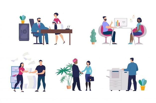 Ustaw plakat informacyjny sytuacje biurowe płaski.