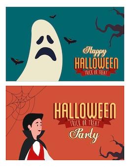 Ustaw plakat party halloween z mężczyzną w przebraniu i duchem