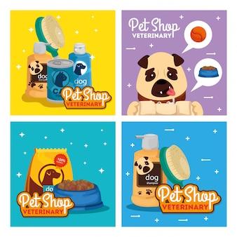 Ustaw plakat weterynaryjnego sklepu zoologicznego z ikonami